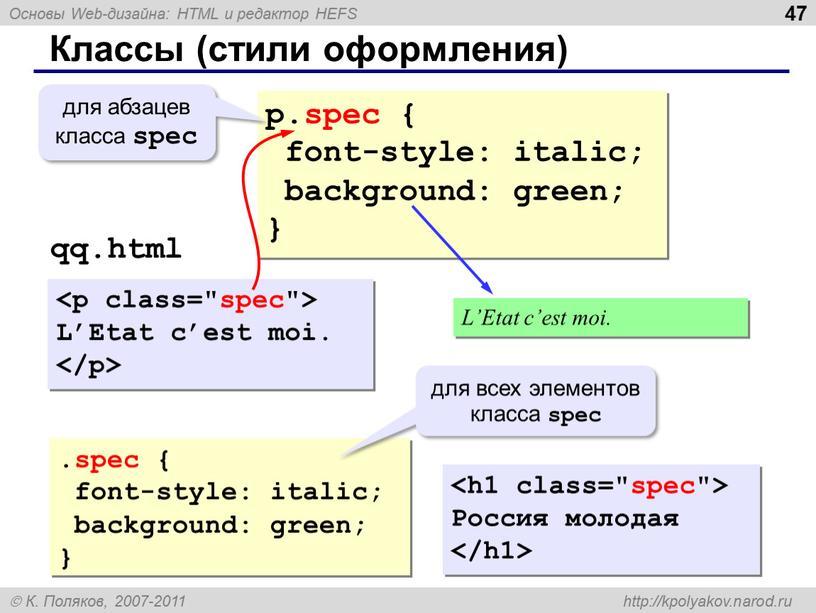 Классы (стили оформления) p.spec { font-style: italic; background: green; } для абзацев класса spec