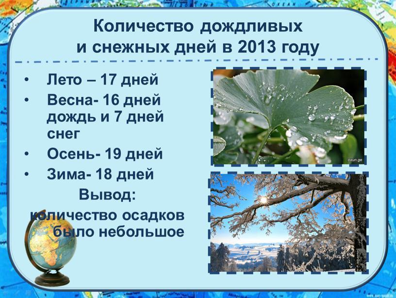 Количество дождливых и снежных дней в 2013 году