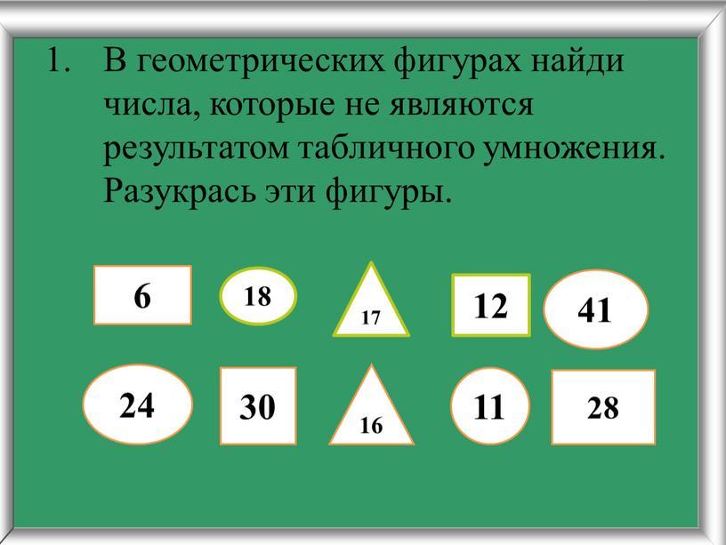 В геометрических фигурах найди числа, которые не являются результатом табличного умножения