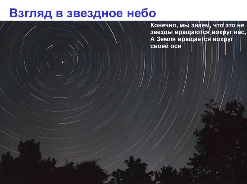Взгляд в звездное небо Конечно, мы знаем, что это не звезды вращаются вокруг нас,