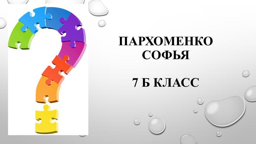 Пархоменко Софья 7 б класс