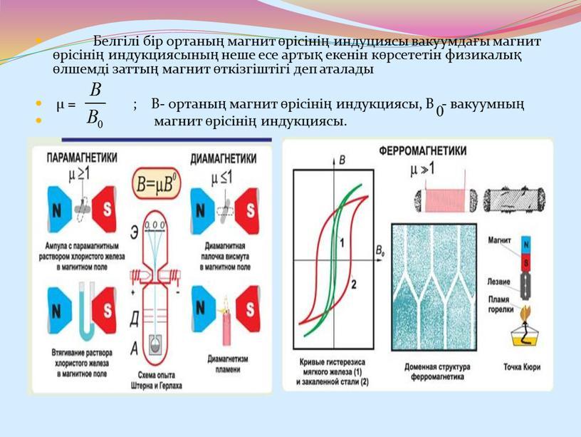 Белгілі бір ортаның магнит өрісінің индуциясы вакуумдағы магнит өрісінің индукциясының неше есе артық екенін көрсететін физикалық өлшемді заттың магнит өткізгіштігі деп аталады μ = ;