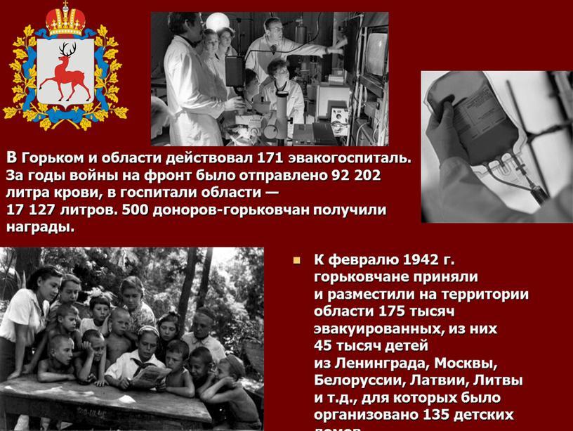 В Горьком и области действовал 171 эвакогоспиталь