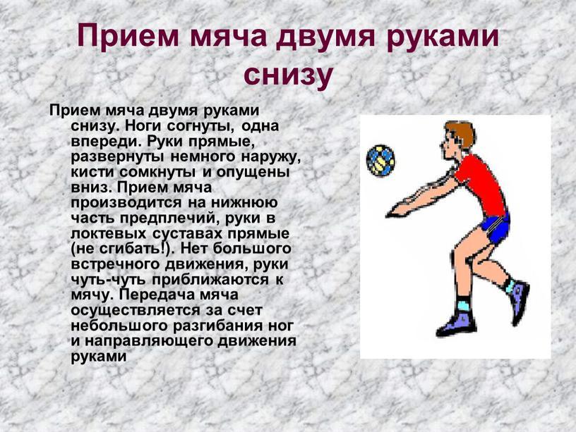 Прием мяча двумя руками снизу Прием мяча двумя руками снизу