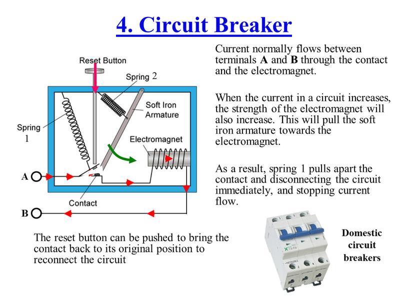 Circuit Breaker Current normally flows between terminals