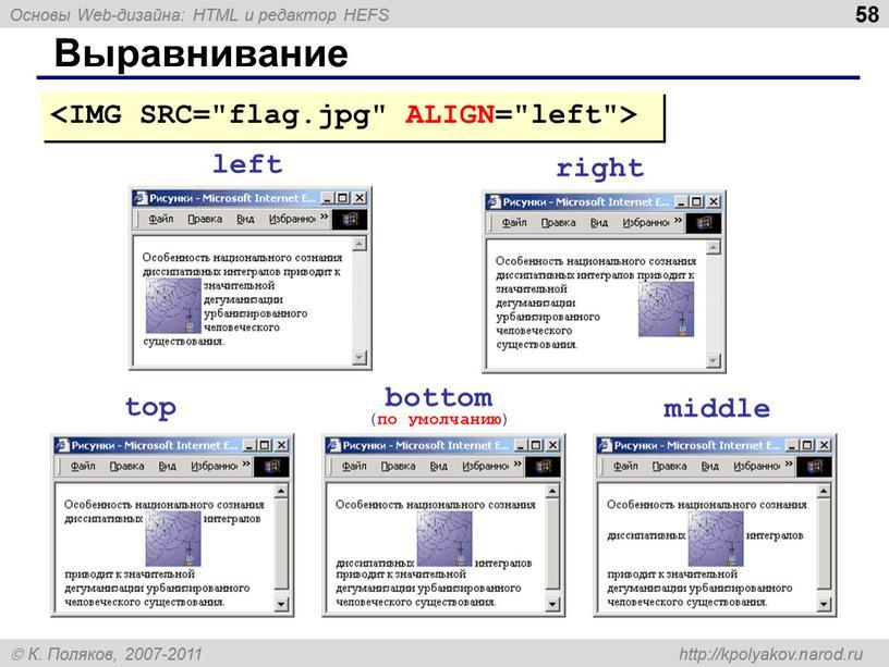 Выравнивание left right top bottom ( по умолчанию ) middle