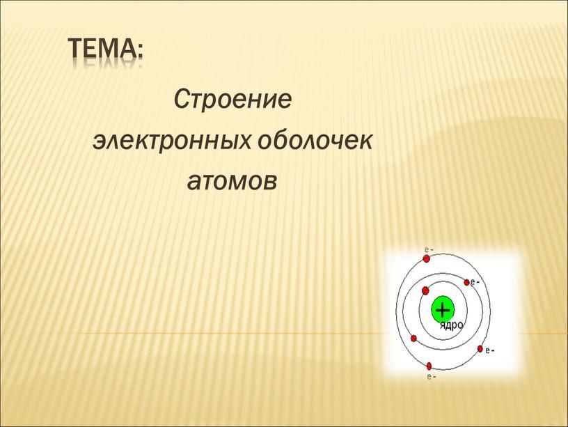 Тема: Строение электронных оболочек атомов