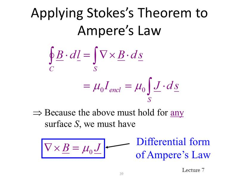 Applying Stokes's Theorem to Ampere's