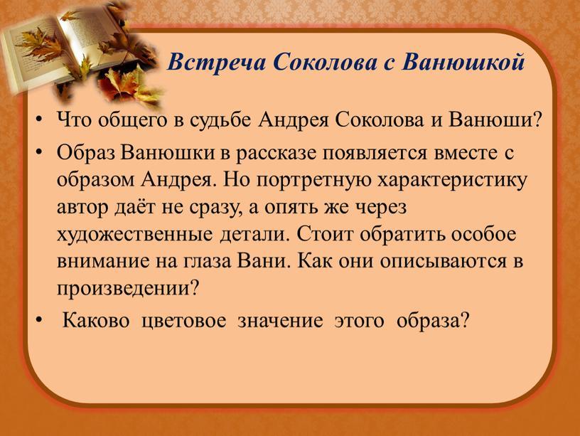 Встреча Соколова с Ванюшкой Что общего в судьбе