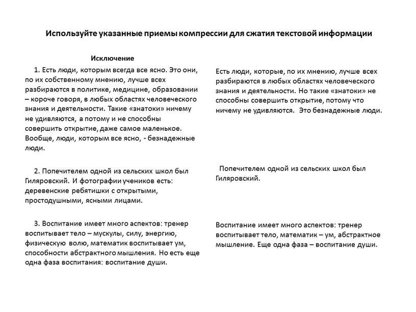 Используйте указанные приемы компрессии для сжатия текстовой информации