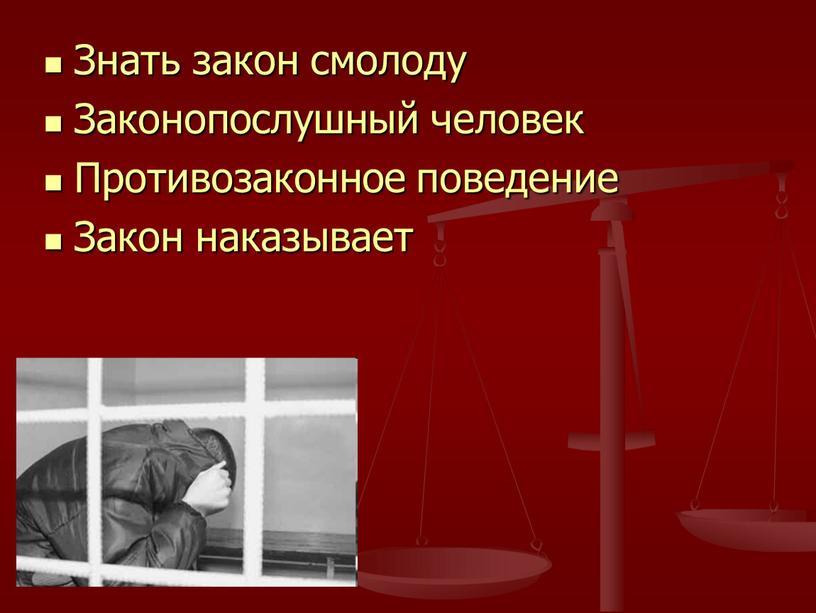 Знать закон смолоду Законопослушный человек