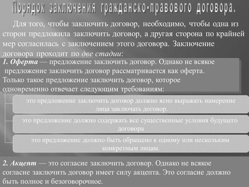 Порядок заключения гражданско-правового договора