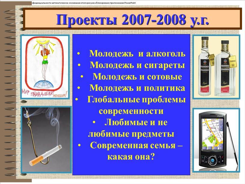 Проекты 2007-2008 у.г. Молодежь и алкоголь
