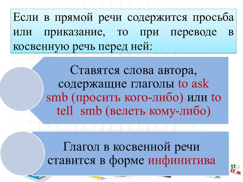 Если в прямой речи содержится просьба или приказание, то при переводе в косвенную речь перед ней: