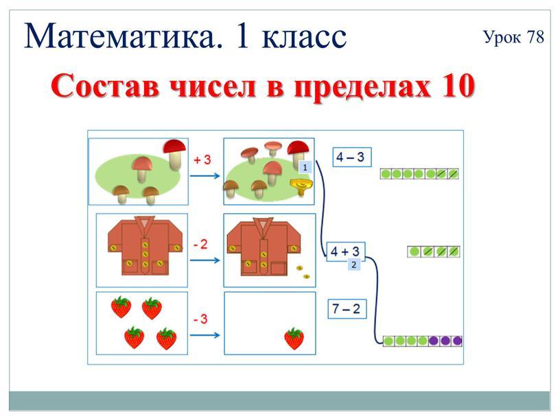 Математика. 1 класс Урок 78 Состав чисел в пределах 10