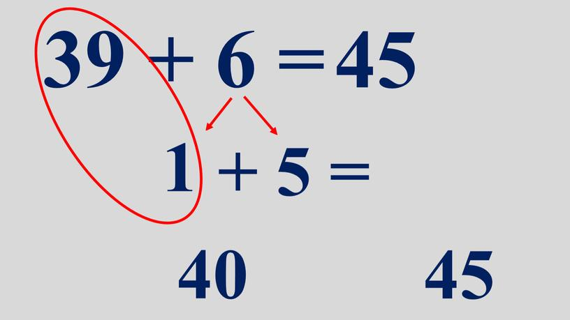 39 + 6 = 45 1 + 5 = 40 45