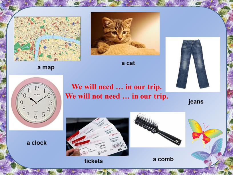 We will need … in our trip. We will not need … in our trip