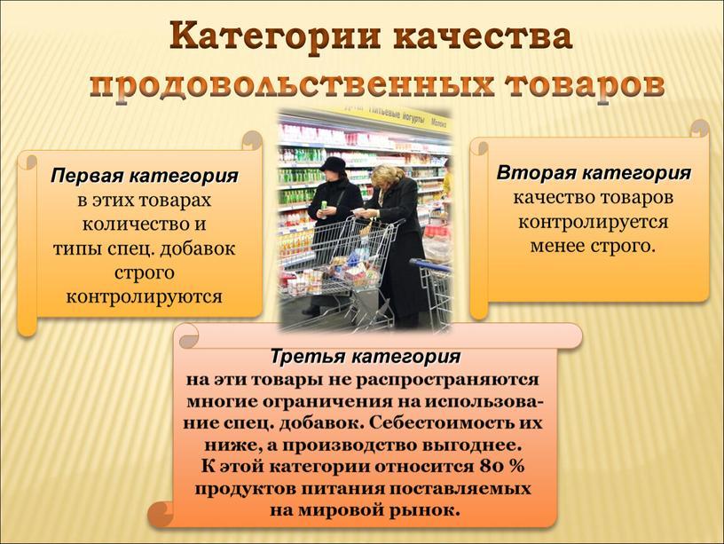 Категории качества продовольственных товаров