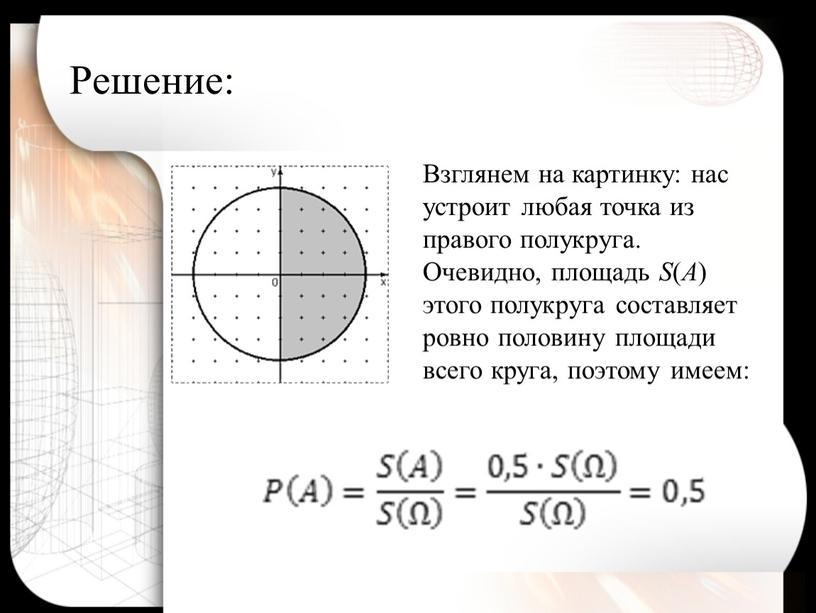 Решение: Взглянем на картинку: нас устроит любая точка из правого полукруга
