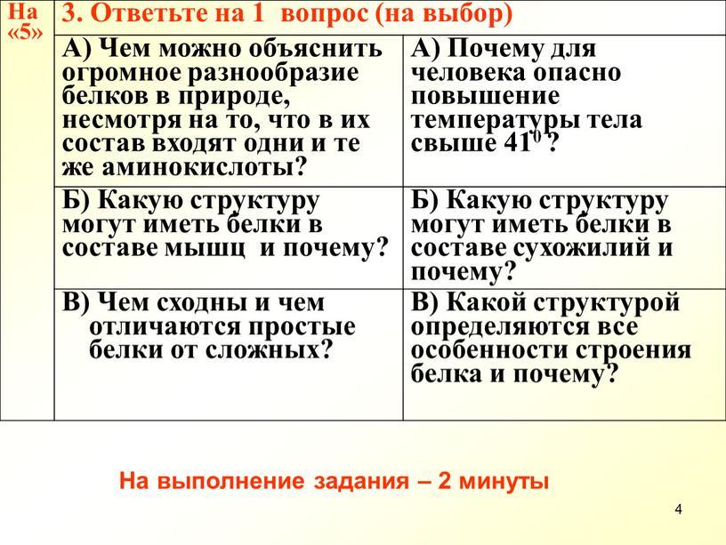 На «5» 3. Ответьте на 1 вопрос (на выбор)