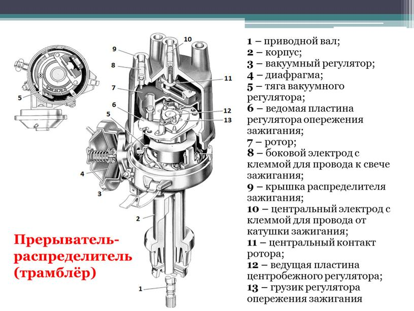 Прерыватель- распределитель (трамблёр) 1 – приводной вал; 2 – корпус; 3 – вакуумный регулятор; 4 – диафрагма; 5 – тяга вакуумного регулятора; 6 – ведомая…