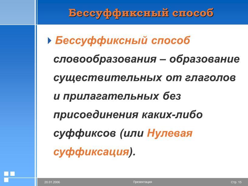 Бессуффиксный способ Бессуффиксный способ словообразования – образование существительных от глаголов и прилагательных без присоединения каких-либо суффиксов (или