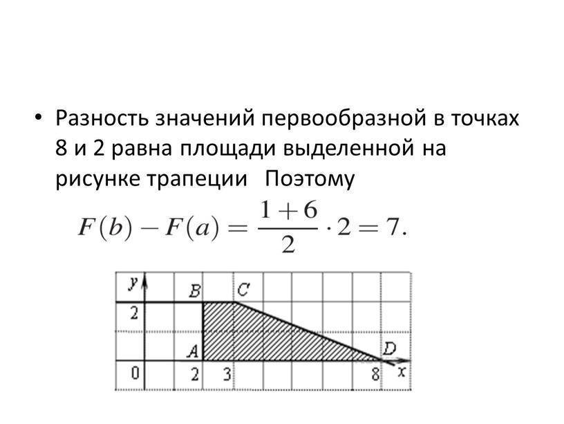 Разность значений первообразной в точках 8 и 2 равна площади выделенной на рисунке трапеции