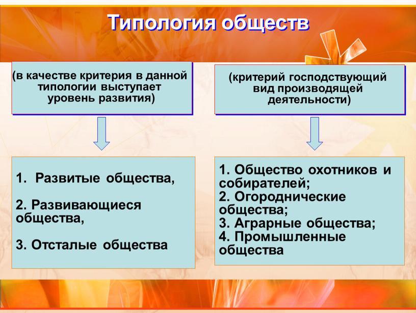 Типология обществ (в качестве критерия в данной типологии выступает уровень развития)
