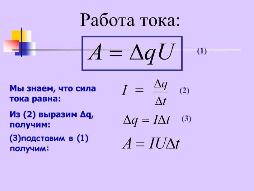 Работа тока: Мы знаем, что сила тока равна: (1)