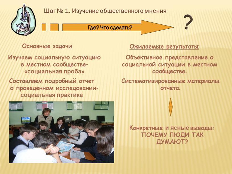 Шаг № 1. Изучение общественного мнения