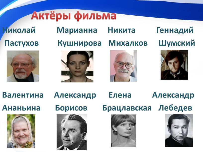 Актёры фильма Николай