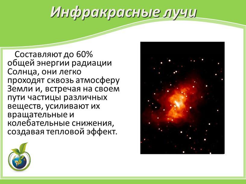 Инфракрасные лучи Составляют до 60% общей энергии радиации