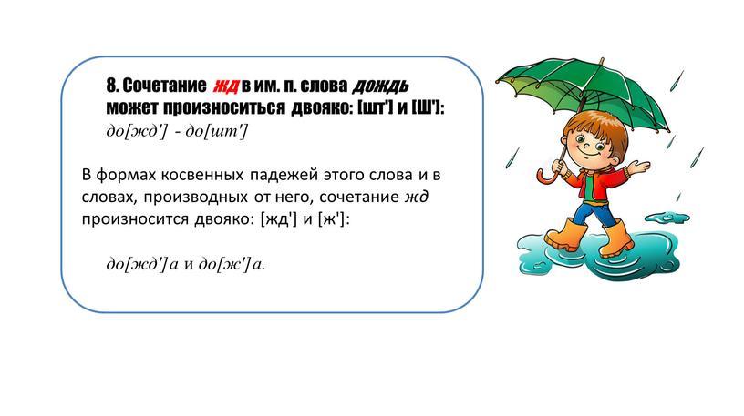 Сочетание жд в им. п. слова дождь может произноситься двояко: [шт'] и [Ш']: до[жд'] - до[шт']