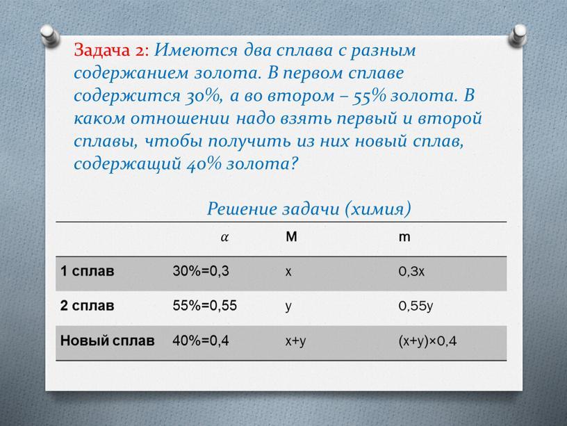 Задача 2: Имеются два сплава с разным содержанием золота