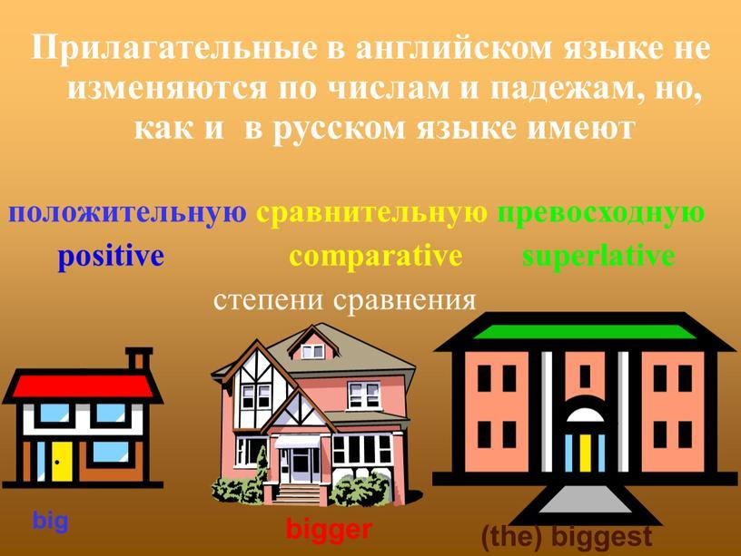 Прилагательные в английском языке не изменяются по числам и падежам, но, как и в русском языке имеют положительную сравнительную превосходную positive comparative superlative степени сравнения
