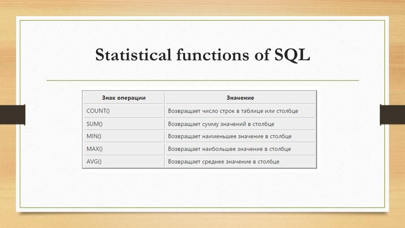 Statistical functions of SQL