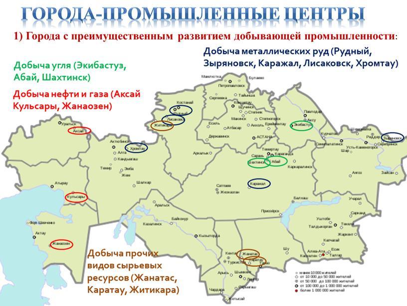 Города-промышленные центры 1) Города с преимущественным развитием добывающей промышленности :