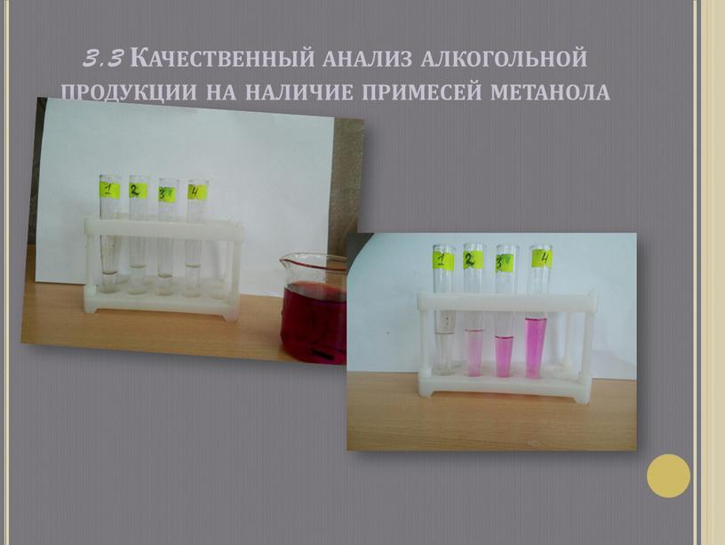 Качественный анализ алкогольной продукции на наличие примесей метанола