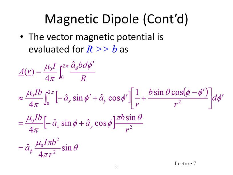Magnetic Dipole (Cont'd) The vector magnetic potential is evaluated for