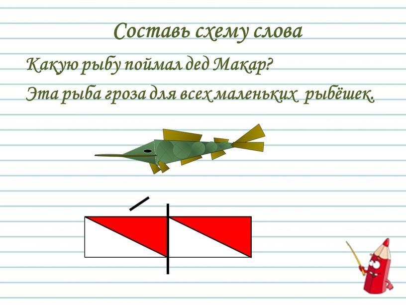 Составь схему слова Какую рыбу поймал дед