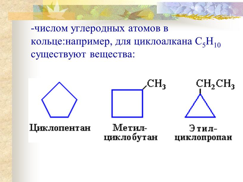 -числом углеродных атомов в кольце:например, для циклоалкана С5Н10 существуют вещества: