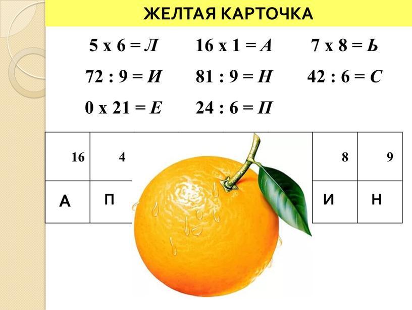 А П Е 5 x 6 = Л 16 x 1 = А 7 x 8 =