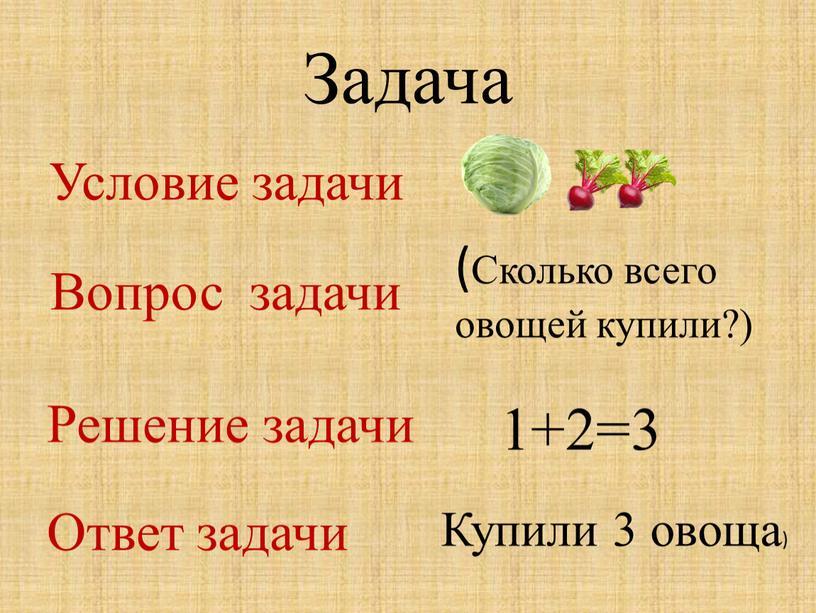 Задача Условие задачи (Сколько всего овощей купили?)