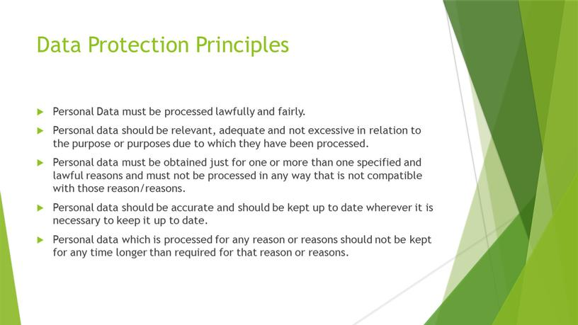 Data Protection Principles Personal