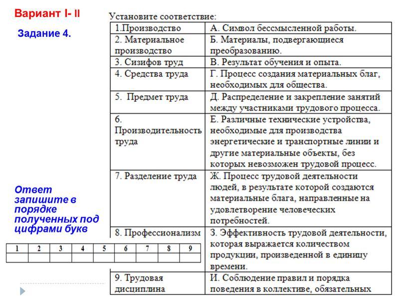 Вариант I- II Задание 4. Ответ запишите в порядке полученных под цифрами букв