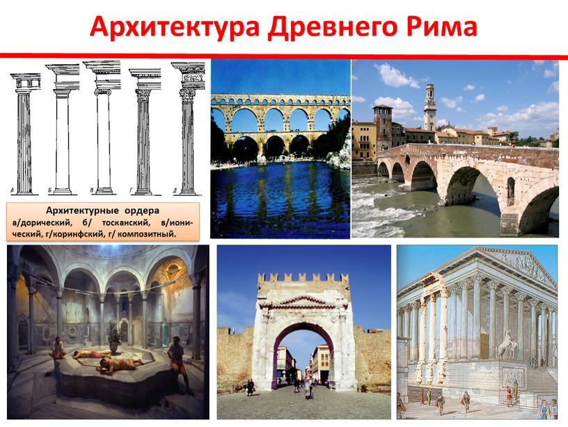 Архитектура Древнего Рима Архитектурные ордера а/дорический, б/ тосканский, в/иони-ческий, г/коринфский, г/ композитный