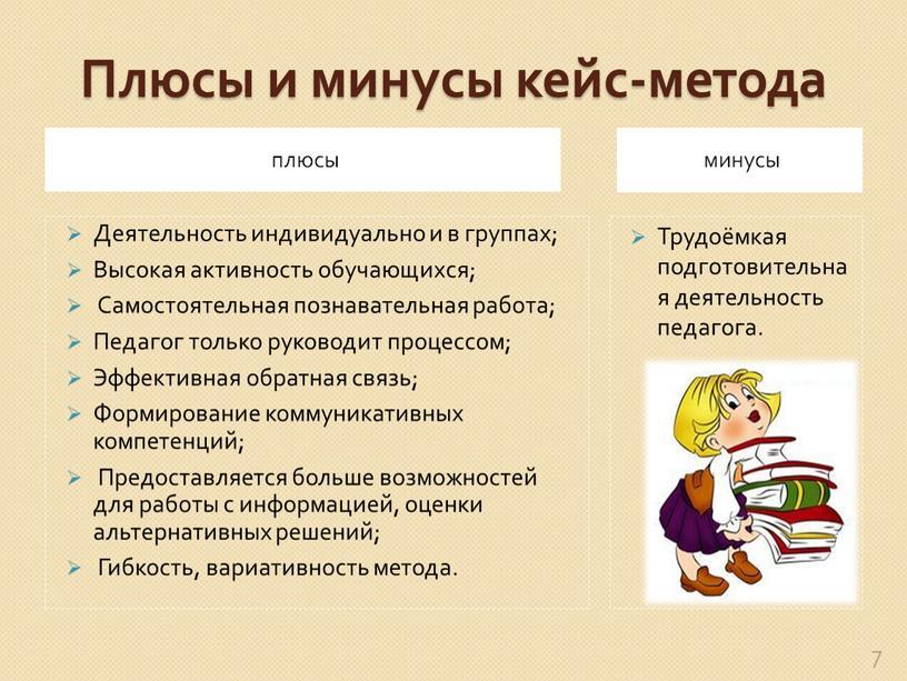 Плюсы и минусы кейс-метода плюсы минусы