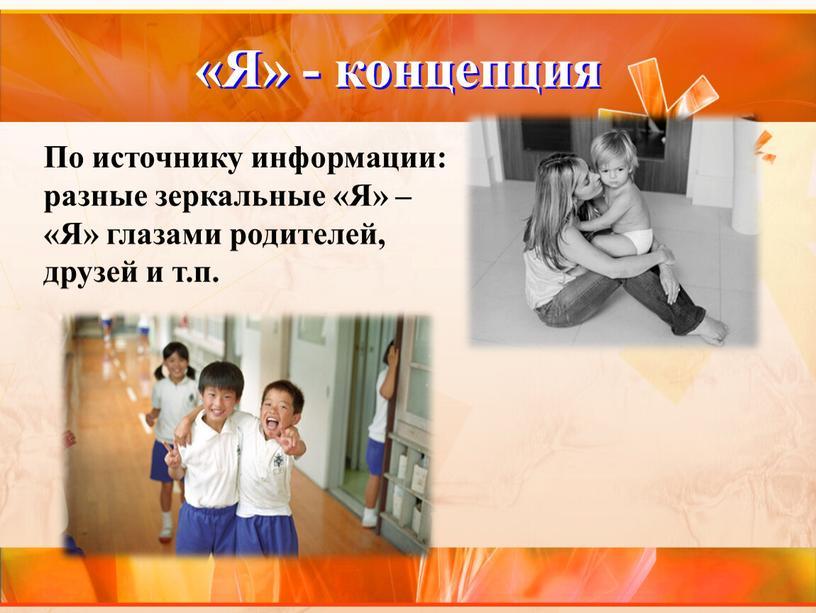 По источнику информации: разные зеркальные «Я» – «Я» глазами родителей, друзей и т