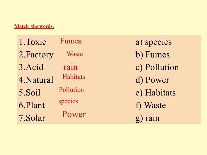 Toxic a) species 2.Factory b) Fumes 3