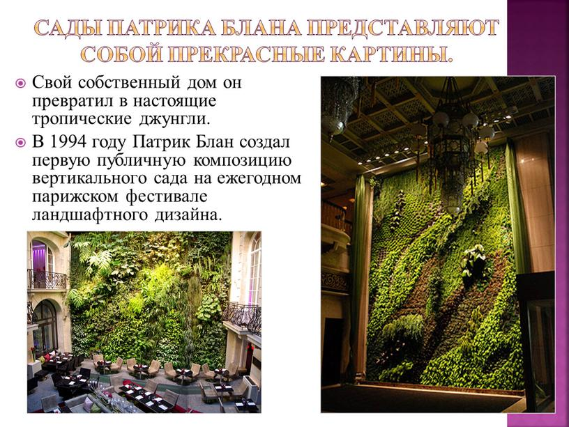 Сады Патрика Блана представляют собой прекрасные картины